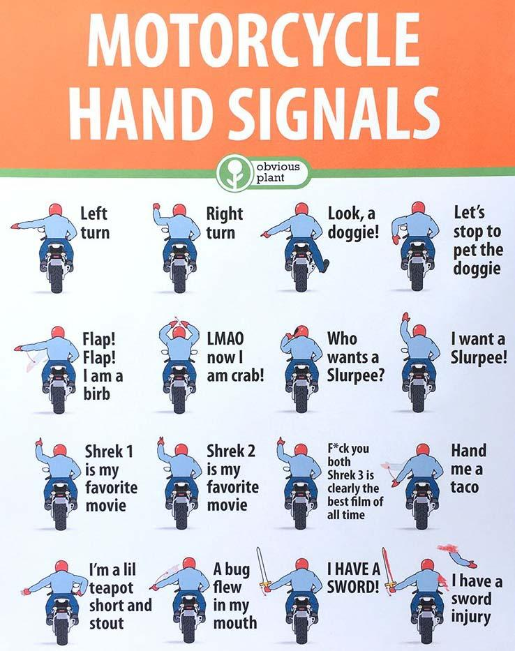 hand signals for motorbikes