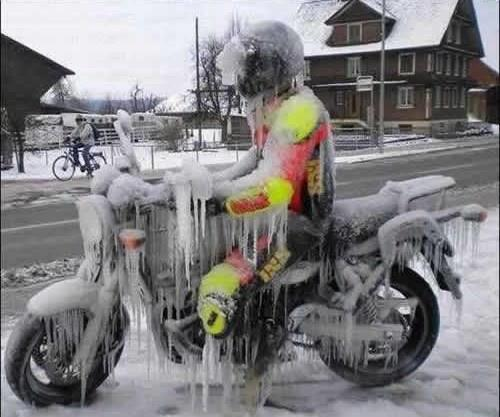 the frozen motorcyclist