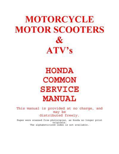 Honda Common Service Manual (1988)