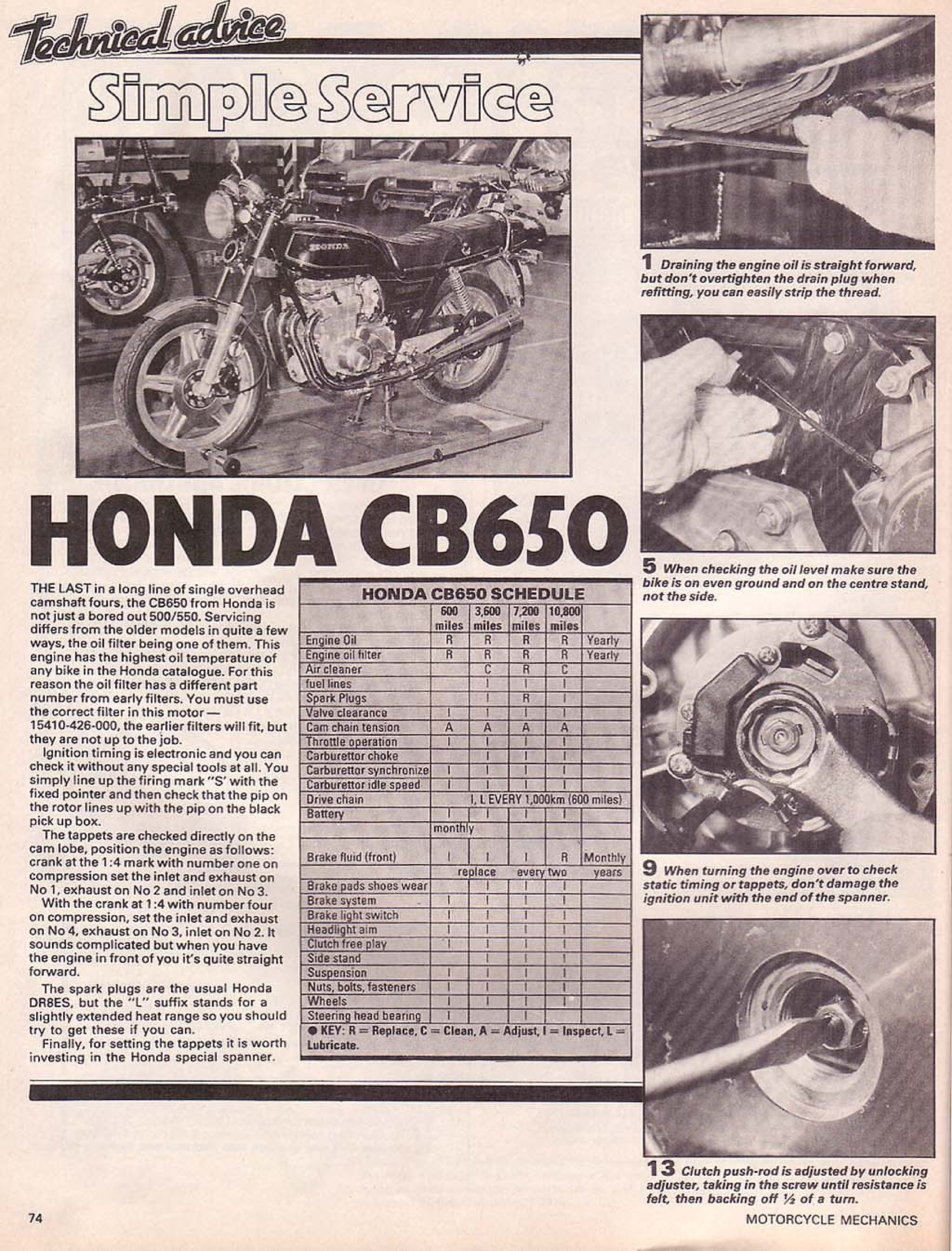Motorcycle Mechanics about Honda CB650 (May 1981)
