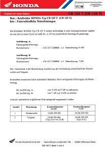 Conformity Declaration for Honda CB125T (Germany)