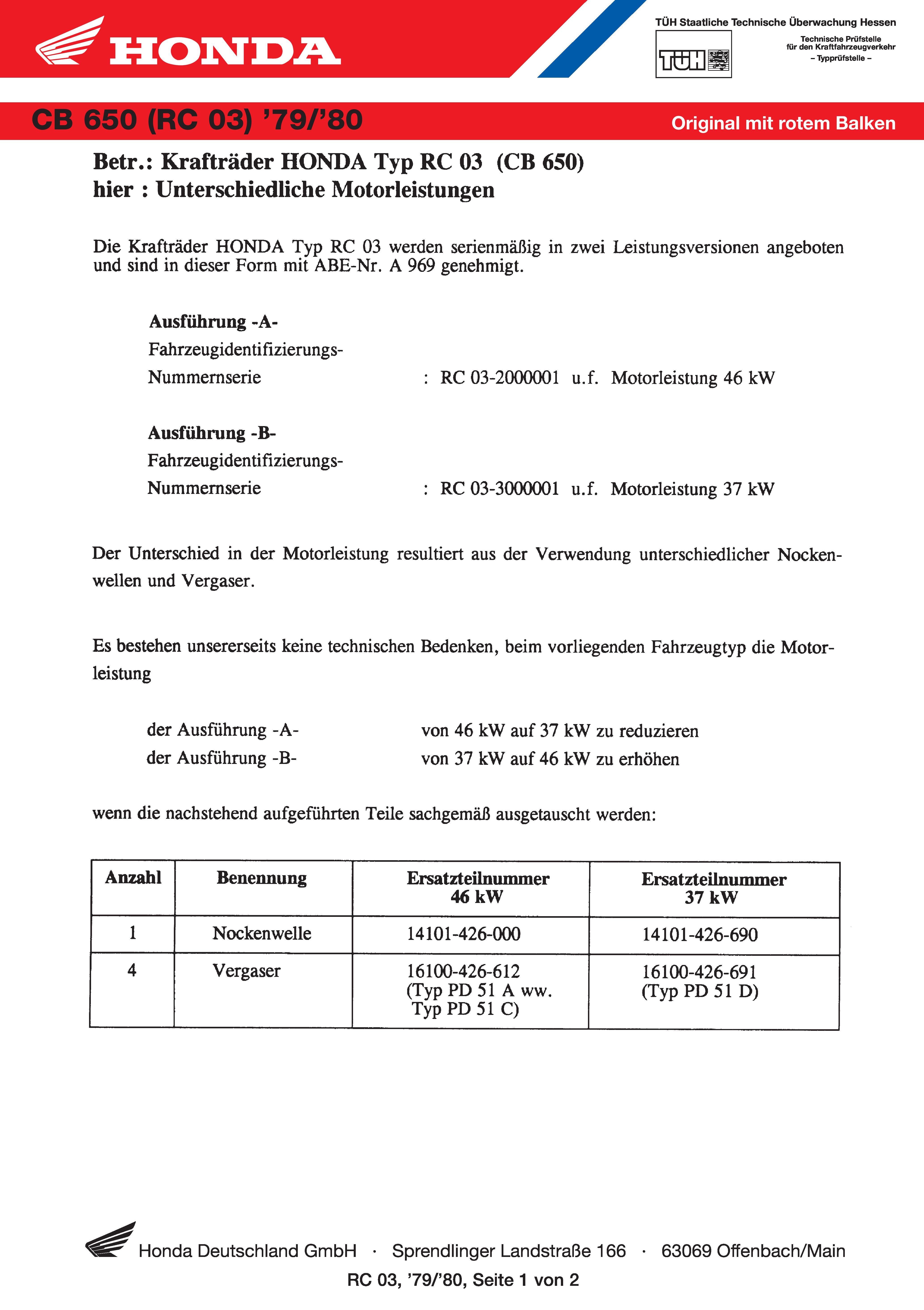 Conformity declaration Honda CB650 RC03 (Germany) (1979)