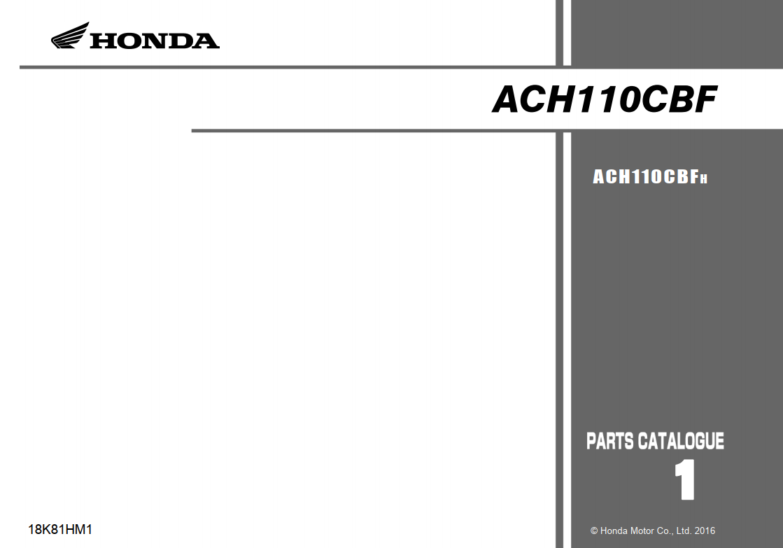 Parts list for Honda ACH110CBF Beat K81 (2016)