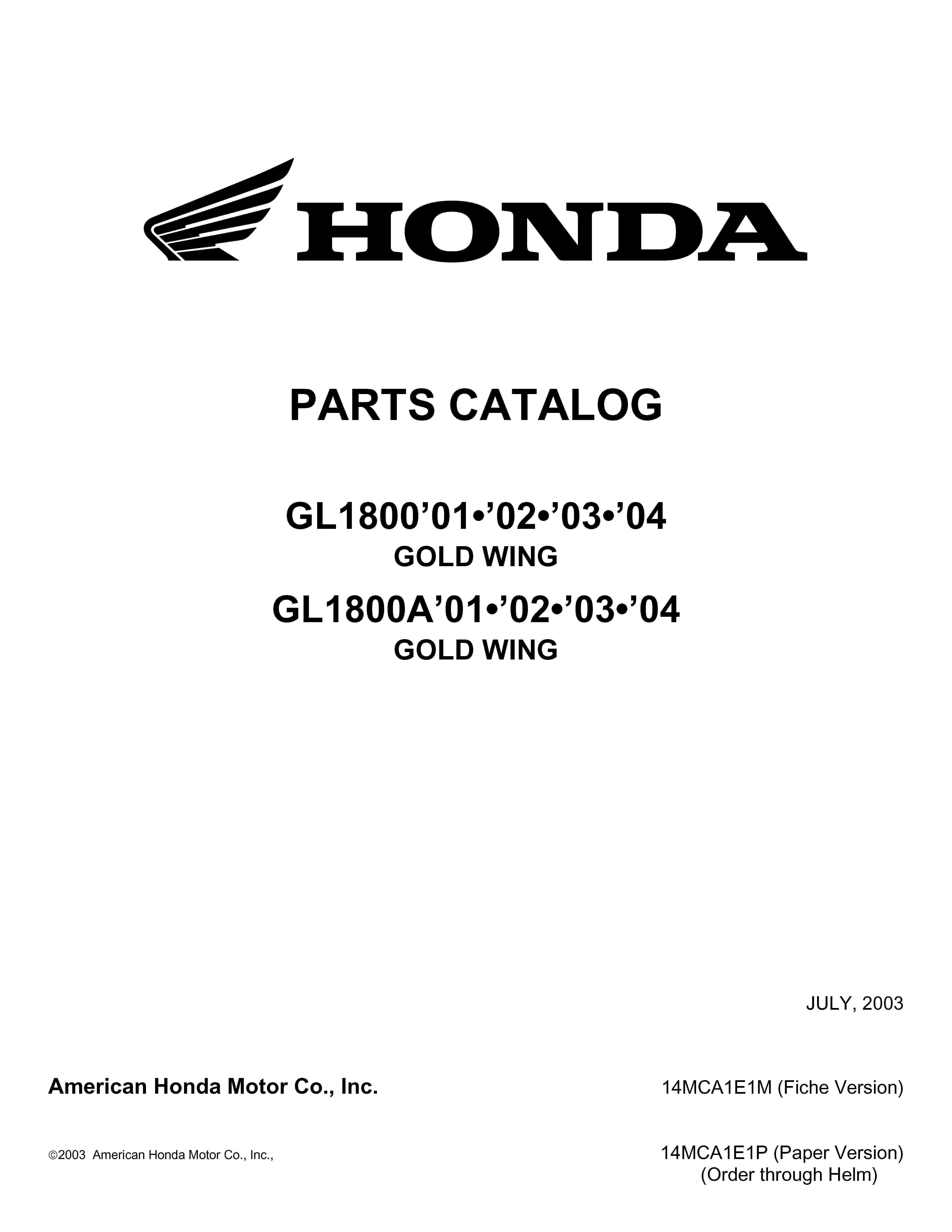 Parts list for Honda GL1800 (2001-2004)