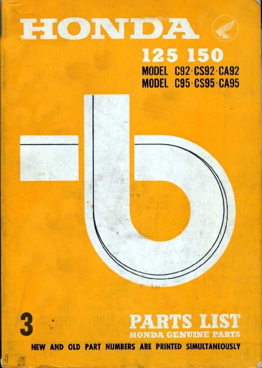 Parts List for Honda C92, CS92, CA92, C95, CS95 and CA95 (1967) (Low-res)