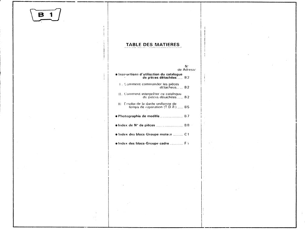 Parts list for Honda XR250A (1988) (French)