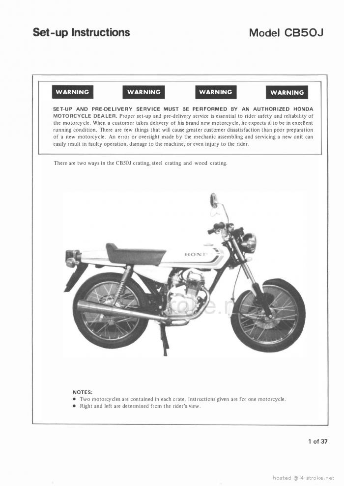 Setup Manual for Honda CB50J