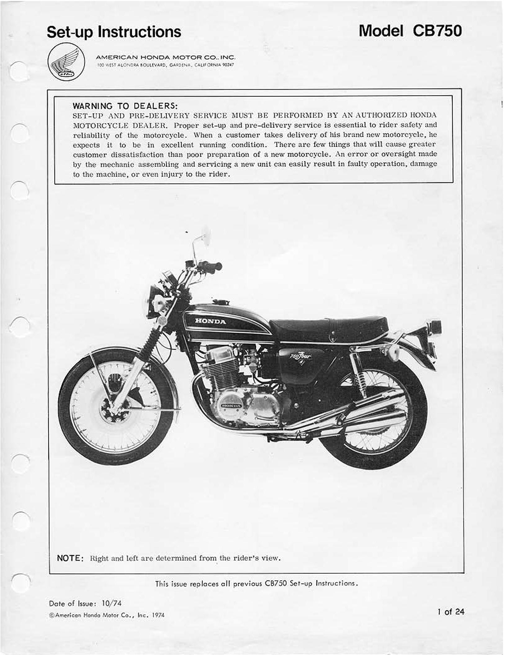 Setup manual for Honda CB750 K5