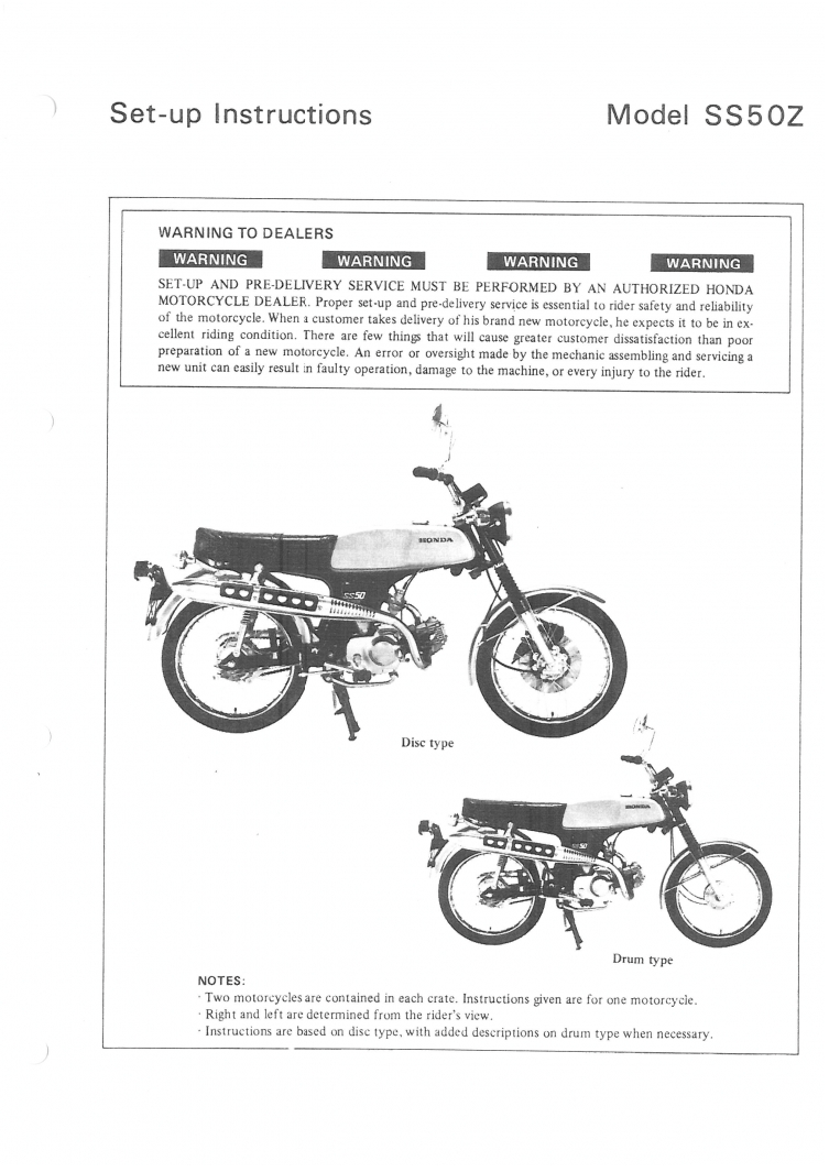 Setup Manual for Honda SS50