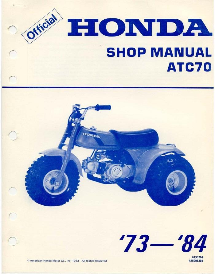 Workshop manual for Honda ATC70