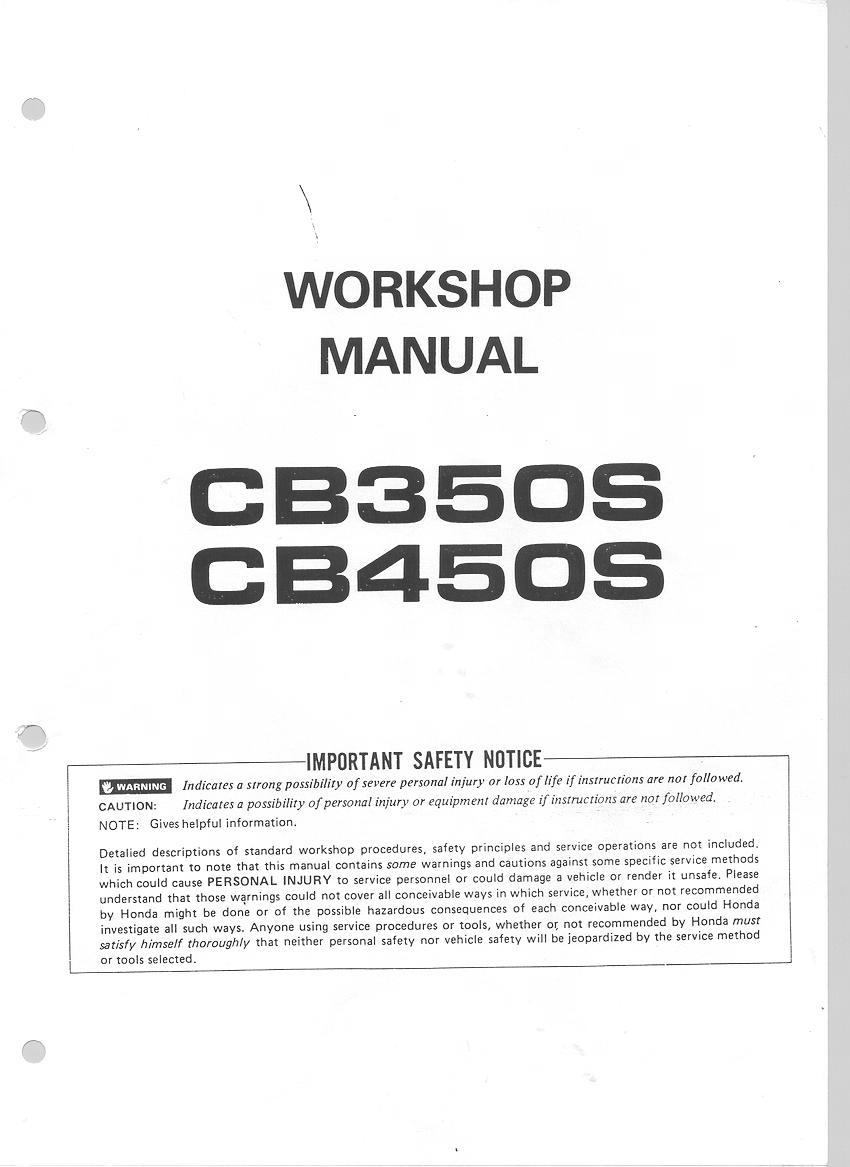 Workshop manual for Honda CB350S