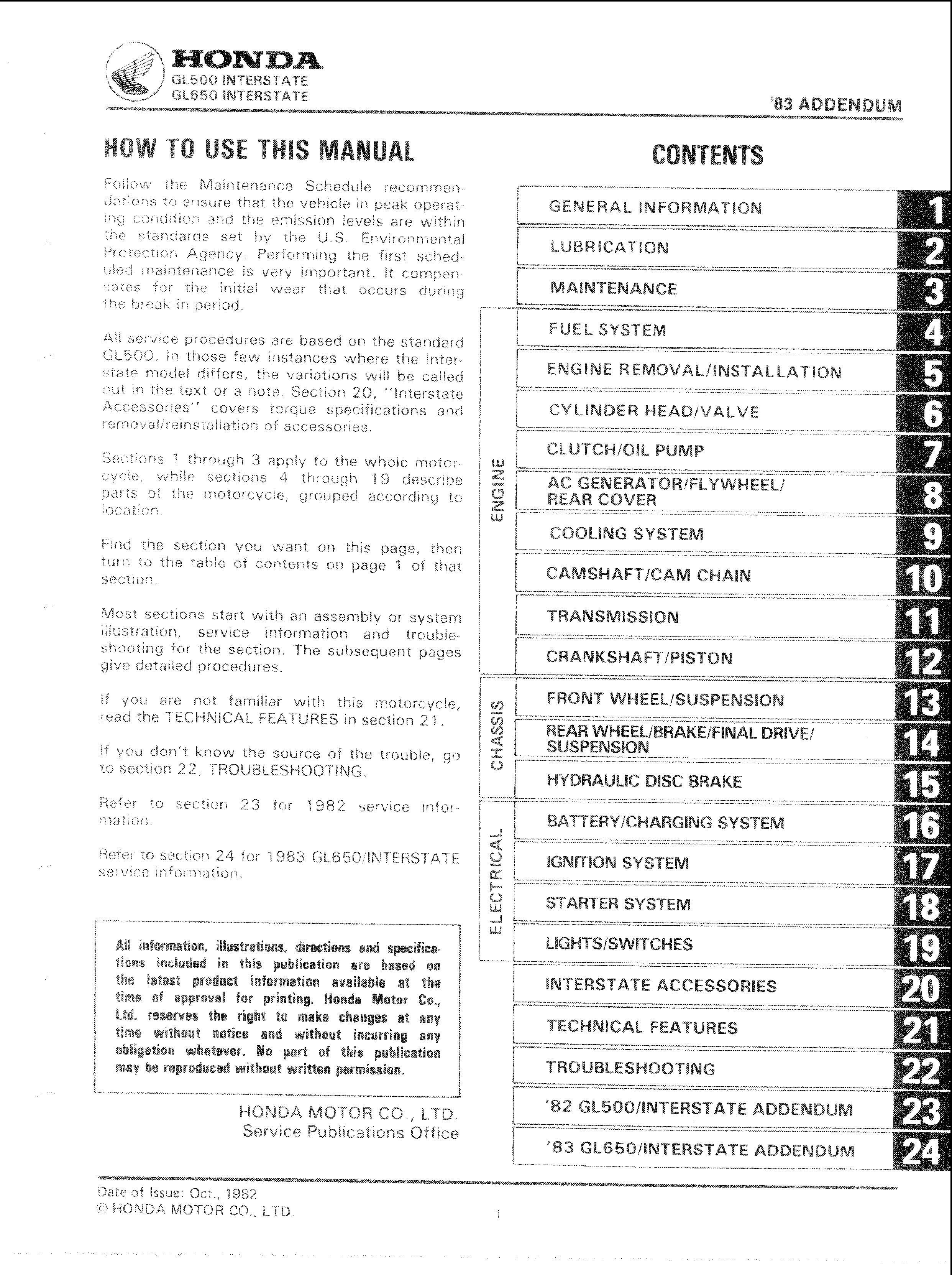 Workshop manual for Honda GL500 (1982)