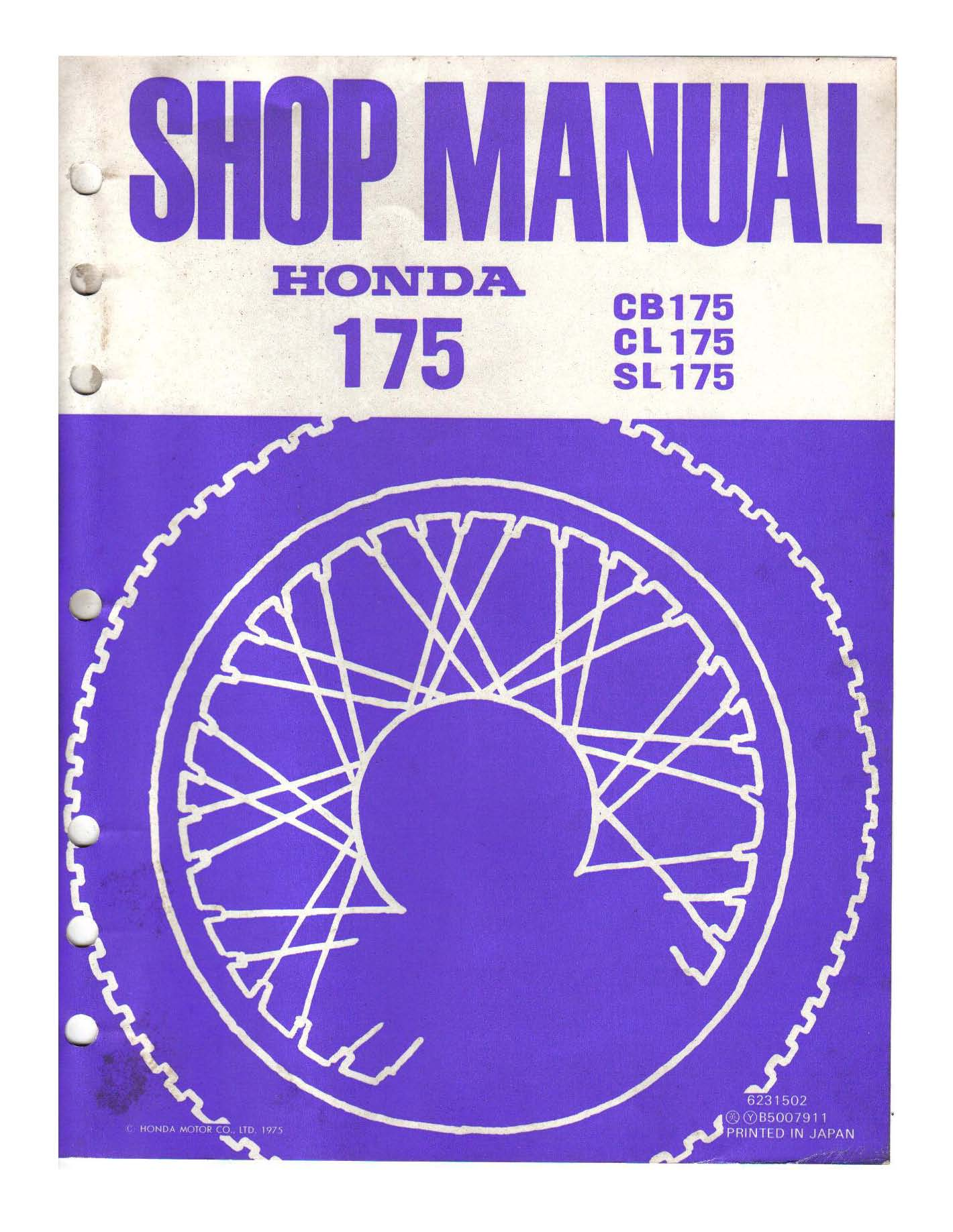 Workshop manual for Honda SL175 (1975)