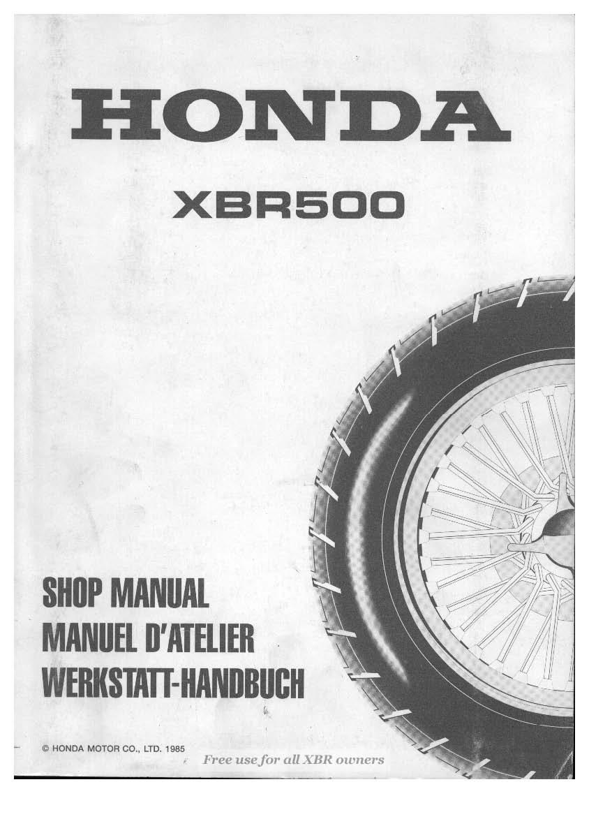 Workshop Manual for Honda XBR500 (1985)