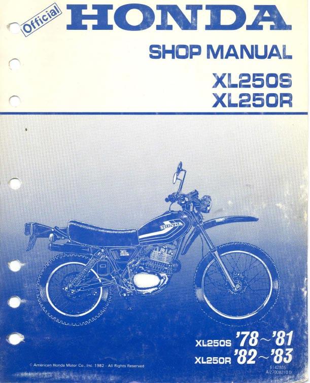 Workshop Manual for Honda XL250R (1982-1983)