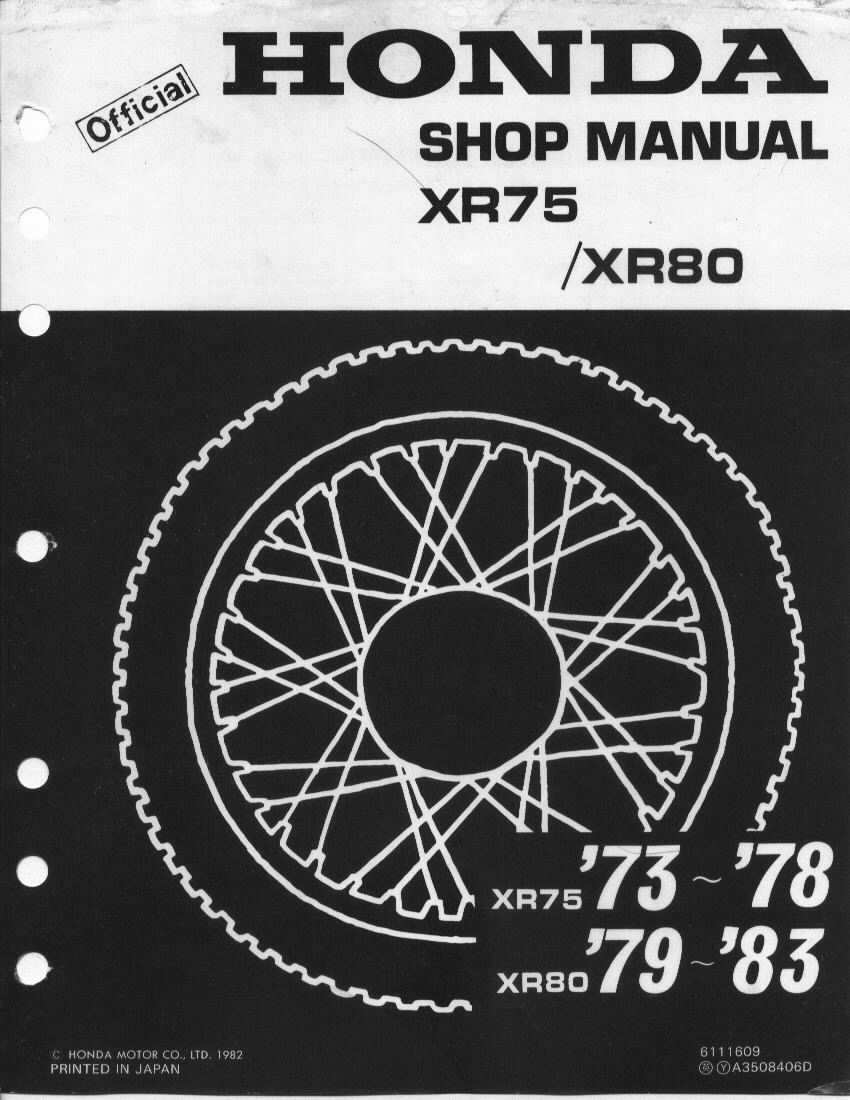 Workshop manual for Honda XR80 (1979-1983)
