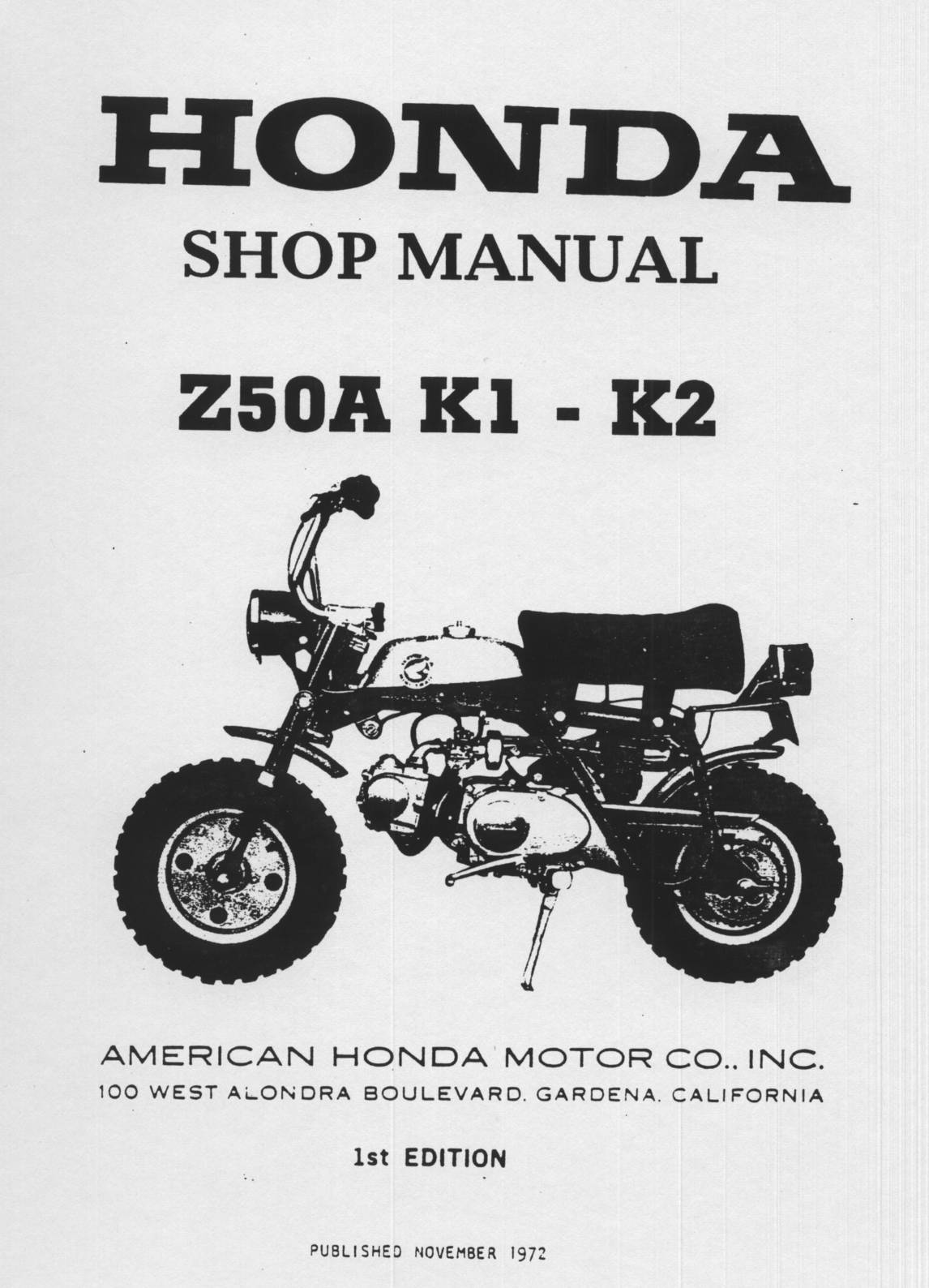Workshop Manual for Honda Z50A (K1/K2) (1972)