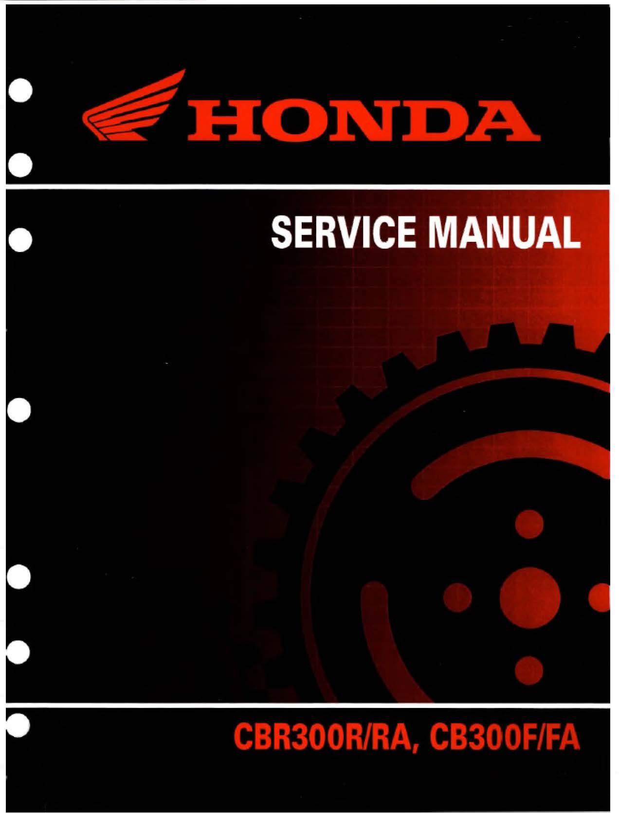 Workshop manual for Honda CBR300F/FA