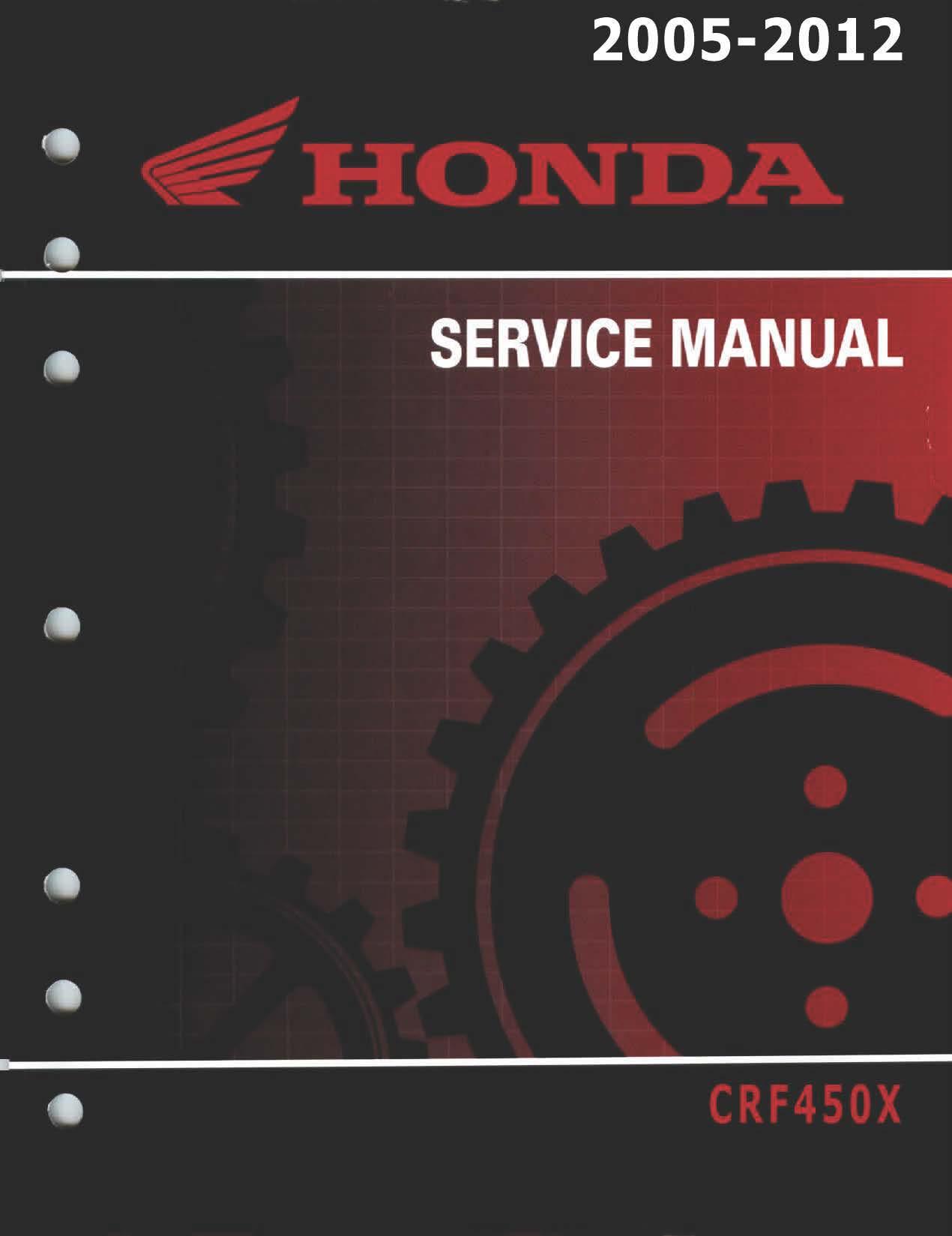 Workshop manual for Honda CRF450X (2005-2012)