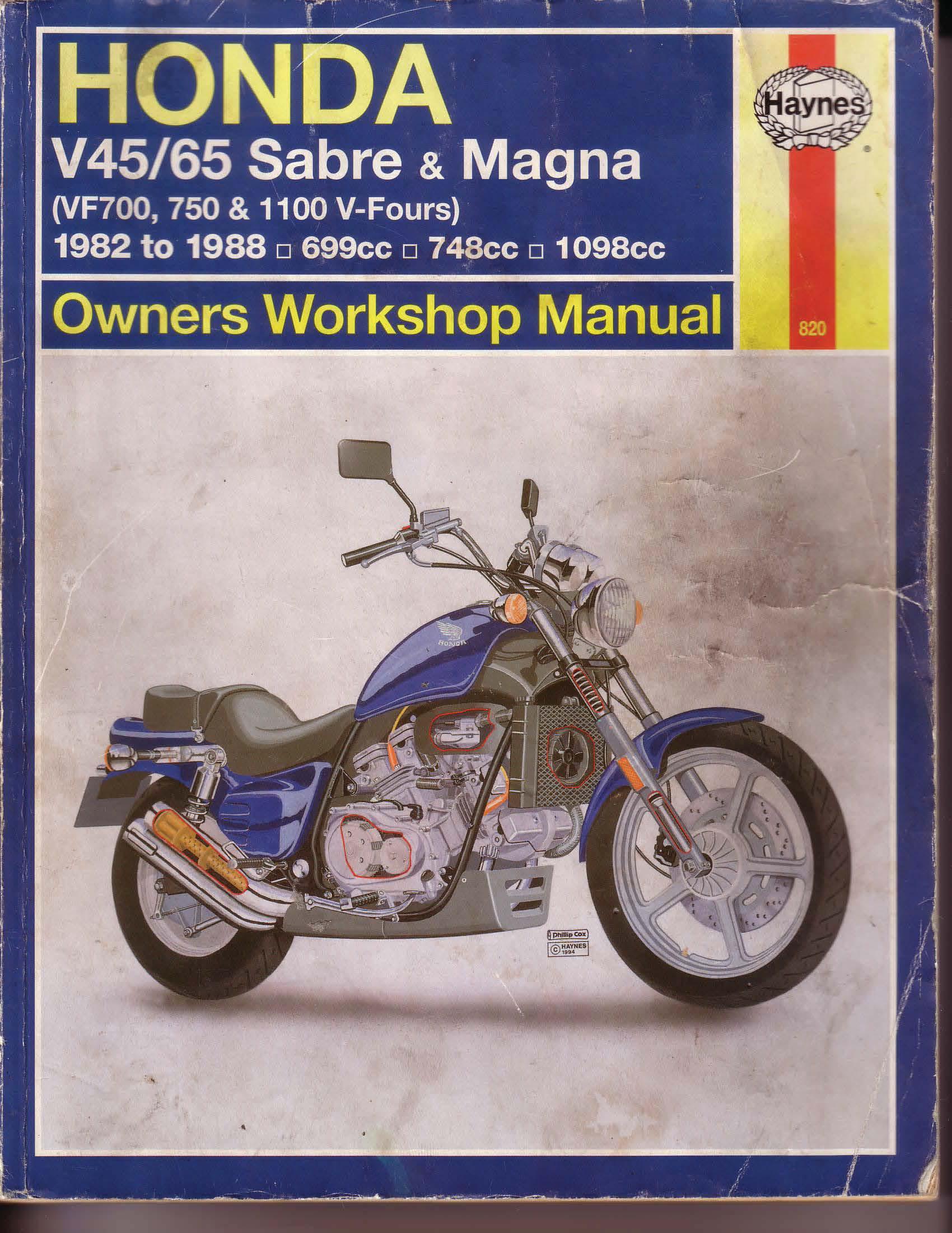 Workshopmanual for Honda VF700 V45/V65 - Sabre/Magna (1982-1988)